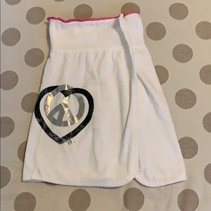 VS PINK white terry towel wrap peace sign